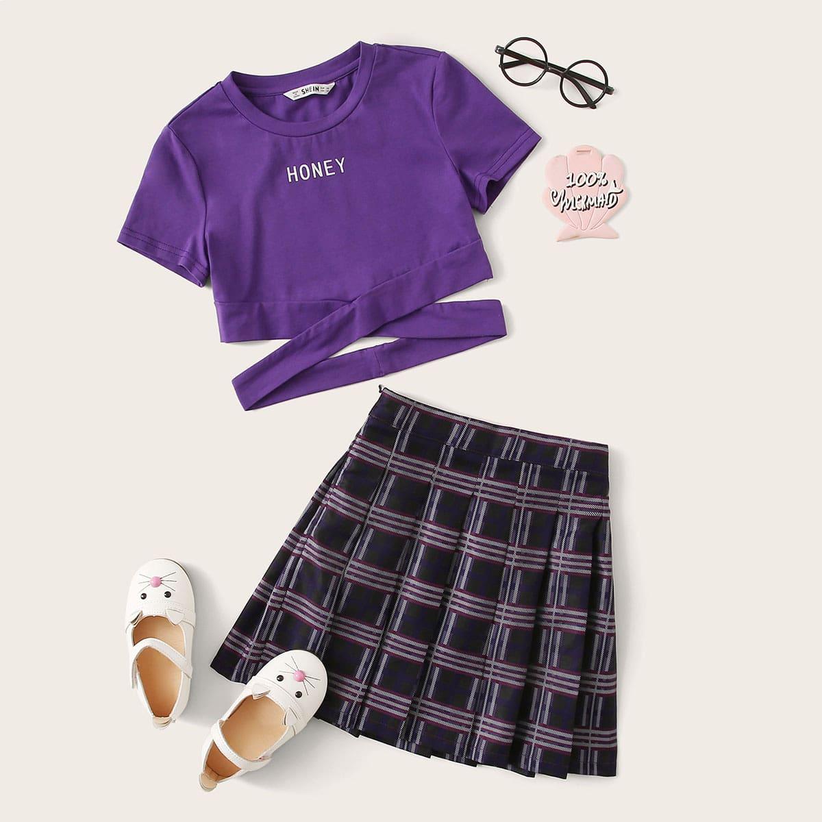 Плиссированная юбка и футболка с текстовым принтом для девочек фото