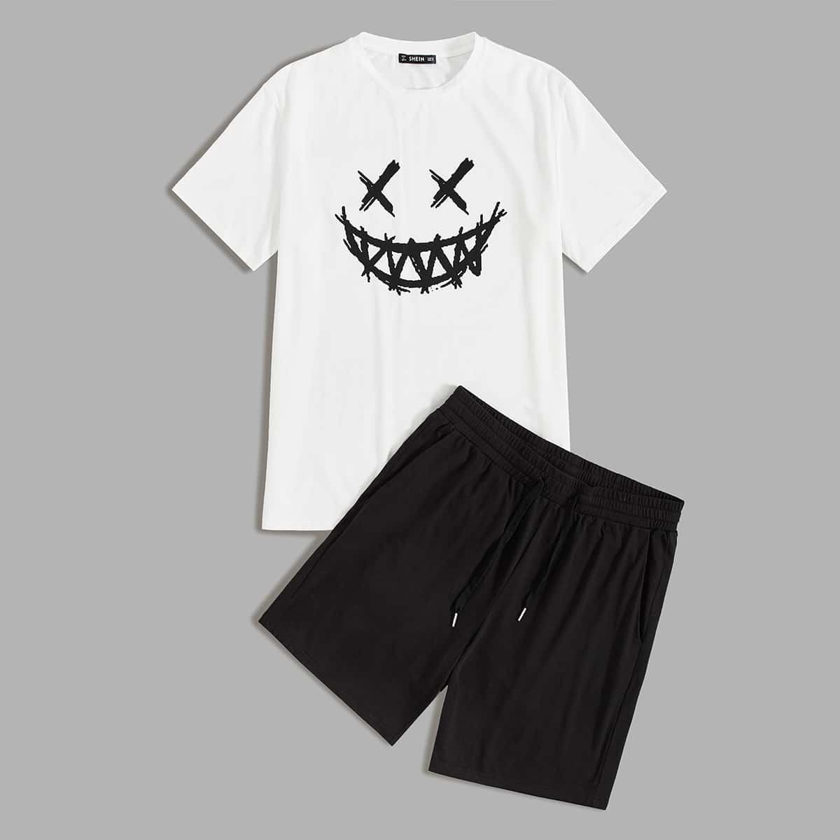 Мужские шорты и футболка с мультяшным принтом от SHEIN
