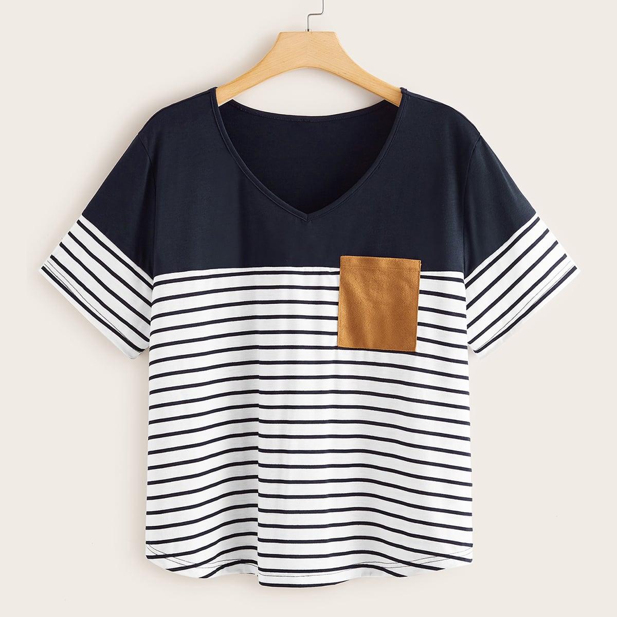 SHEIN / Große Größen - T-Shirt mit Kontrast Einsatz und Streifen