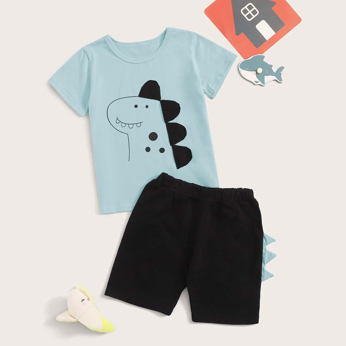 Шорты и футболка с принтом динозарва, заплатой 3D для мальчиков от SHEIN