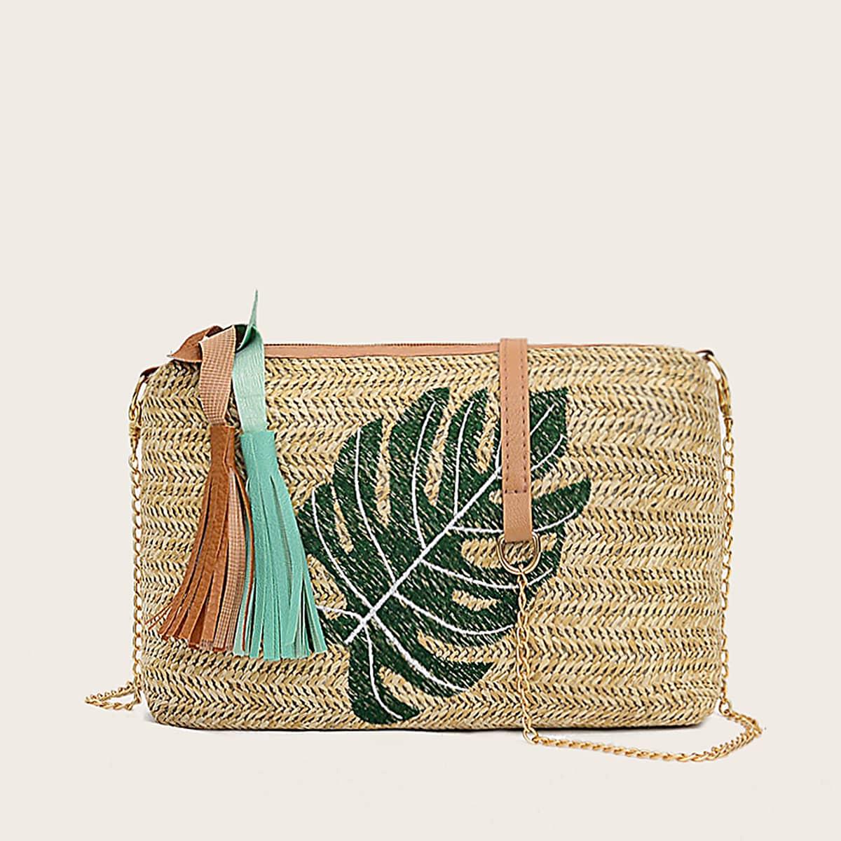 Плетеная сумка на цепочке с узором листа и бахромой