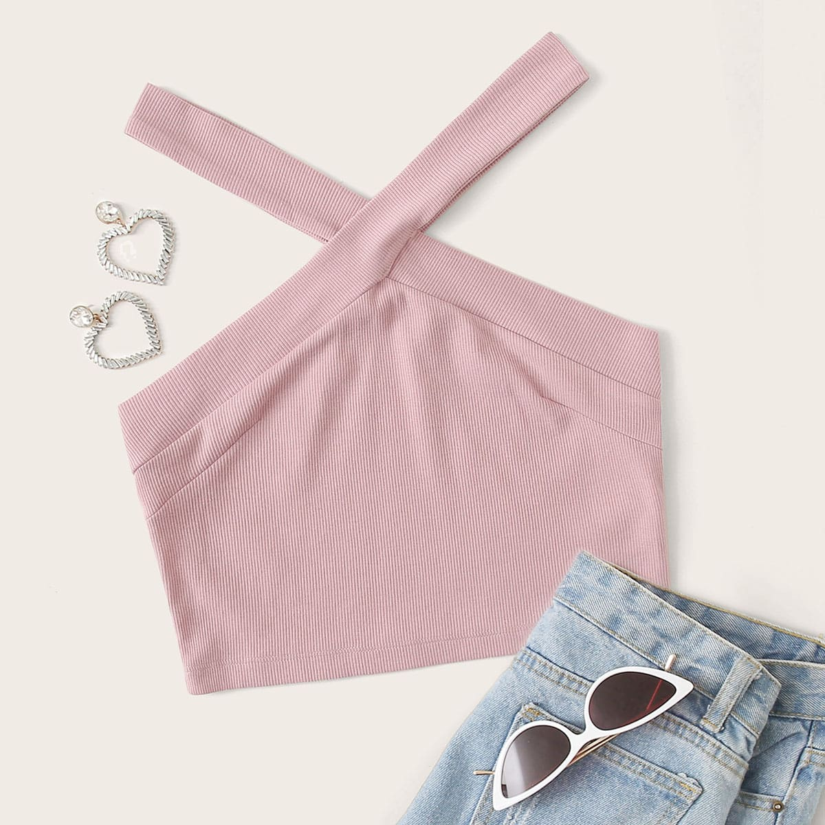 SHEIN / Rib-knit Halter Crop Top