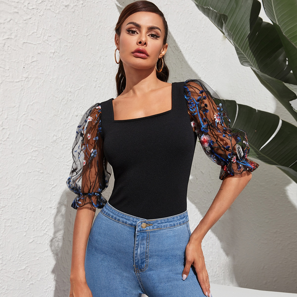 SHEIN / Square Neck Embroidery Mesh Sleeve Top