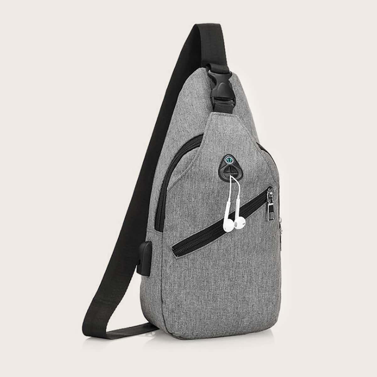 Sling-tas voor heren met opening voor oortelefoon