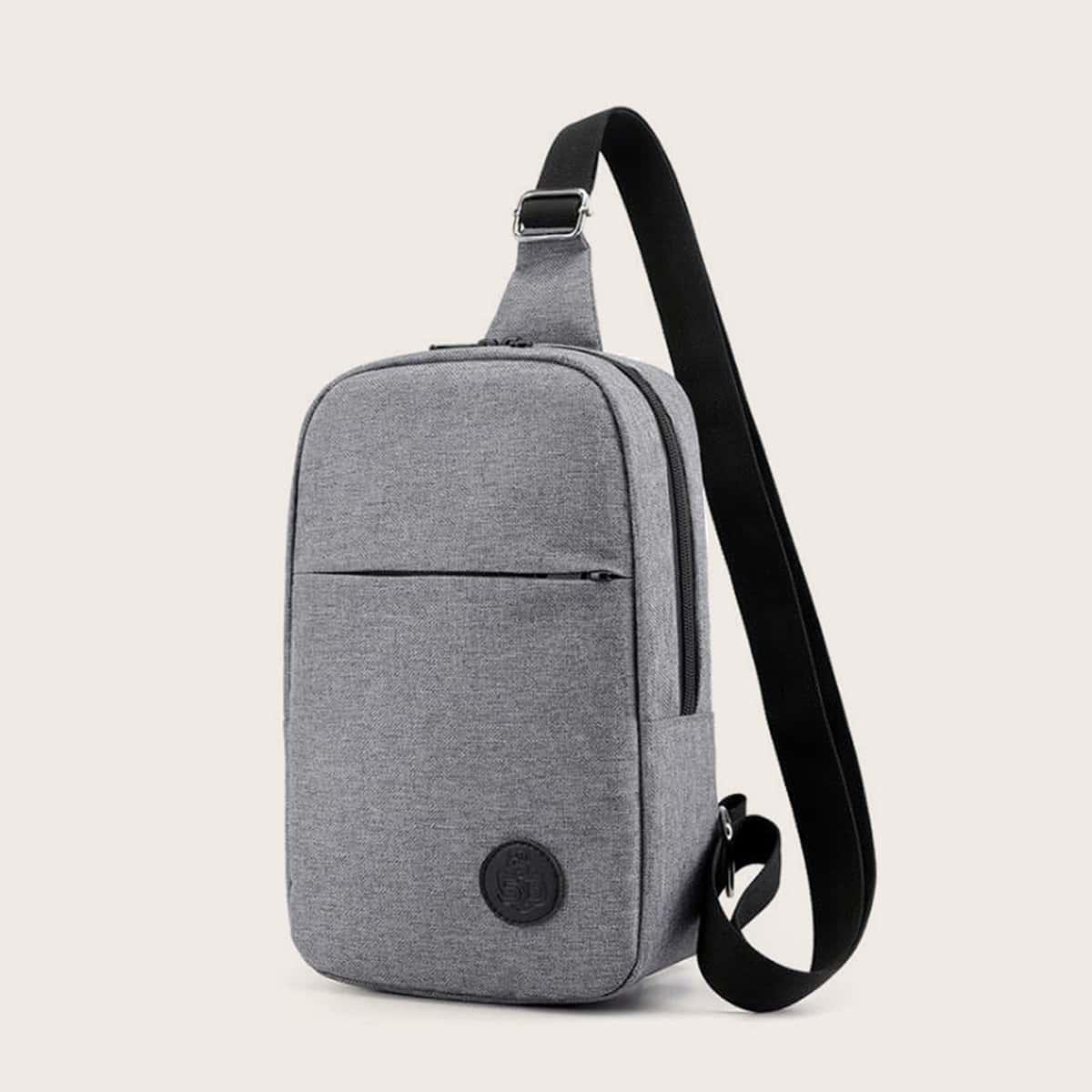 Mannen minimalistische sling bag met USB-poort