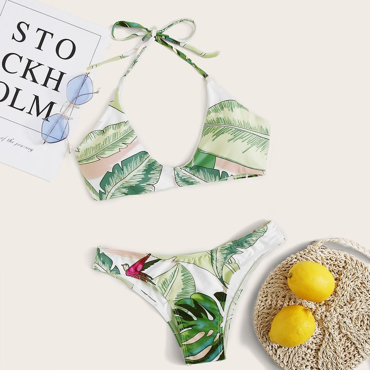 SHEIN / Bikini bragas halter tropical