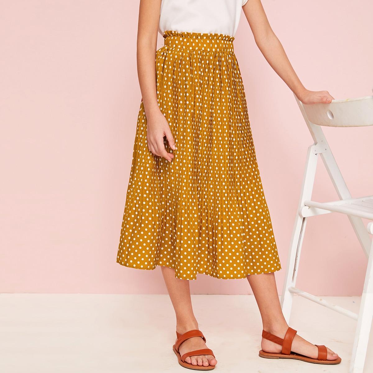 Плиссированная юбка в горошек для девочек от SHEIN