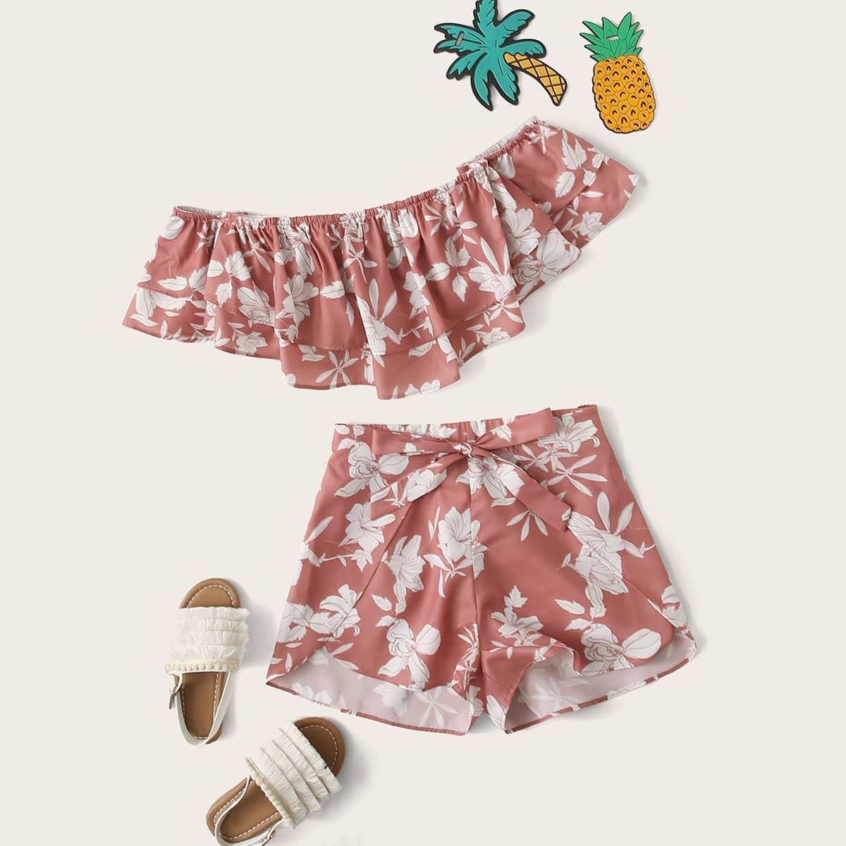 SHEIN / Girls Off Shoulder Layered Ruffle Crop Top & Petal Shorts Set