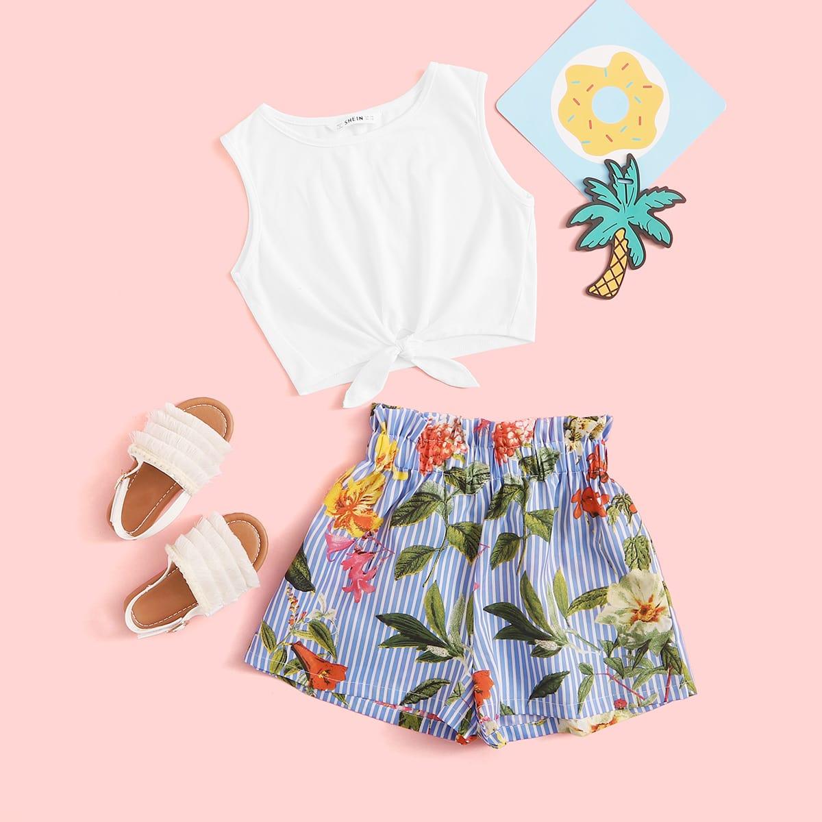 SHEIN / Mädchen Top mit Knoten und Shorts Set mit Papiertasche Taille
