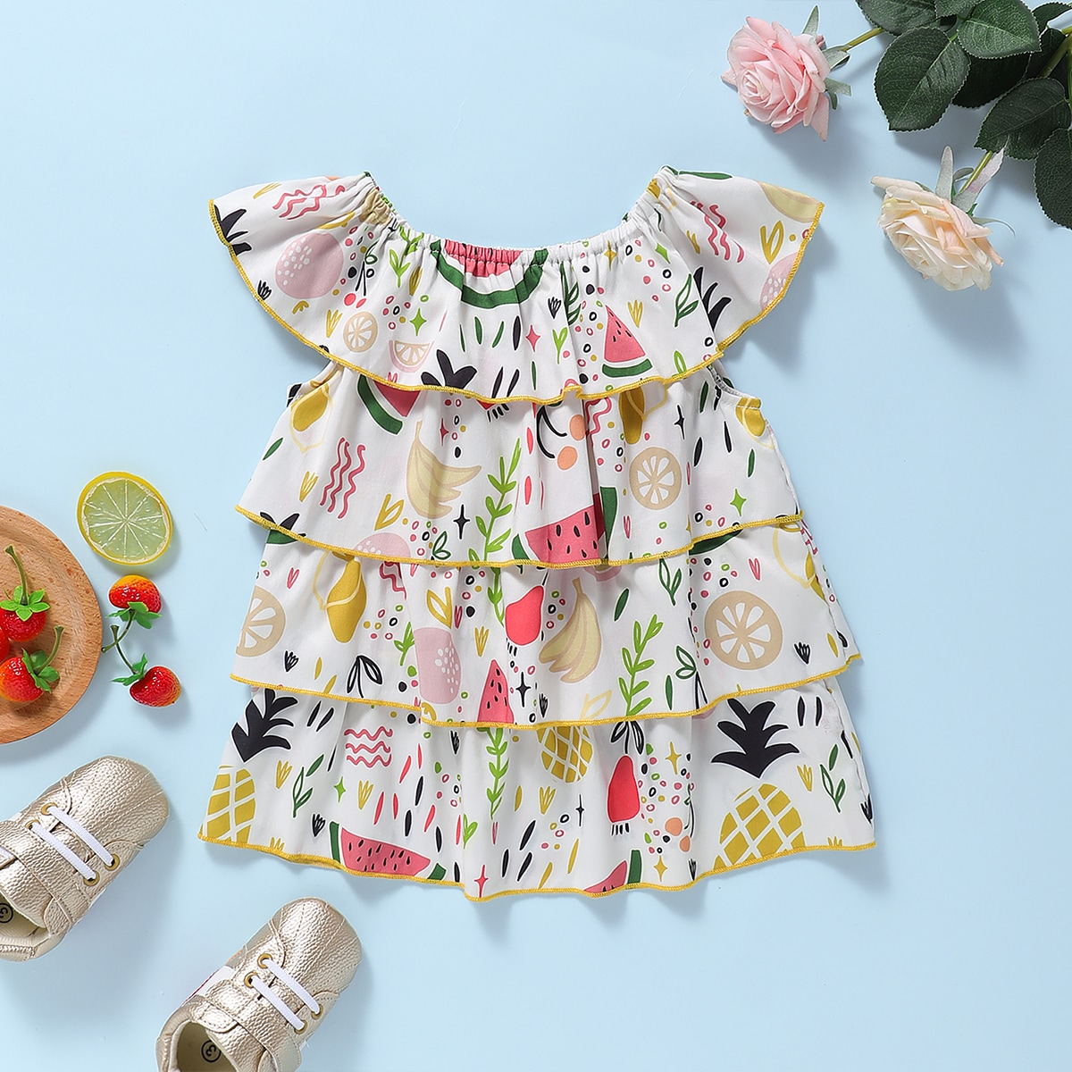 Платье с оборками и принтом фруктов для девочек от SHEIN