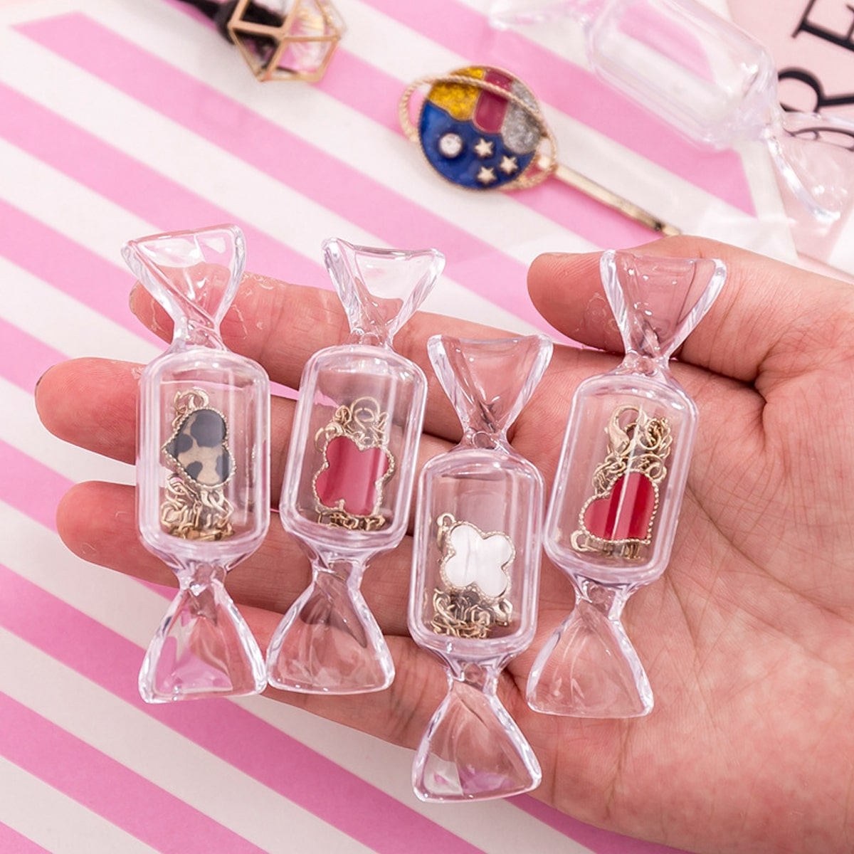 1pc Candy Shaped Clear Jewelry Opbergdoos