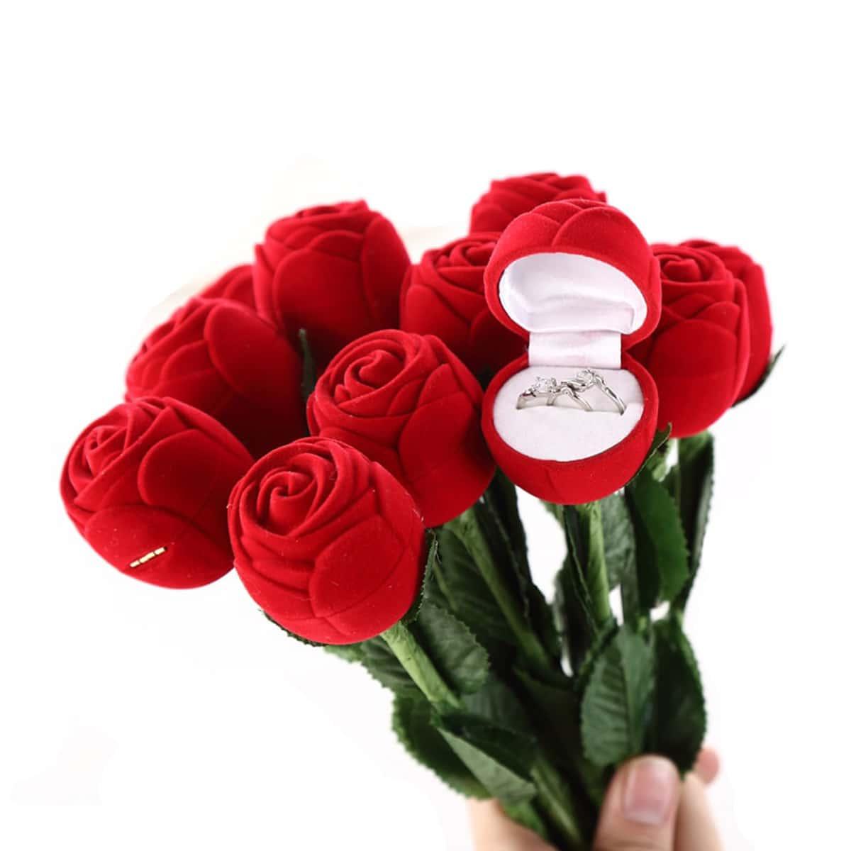 1pc Rose vormige Ring opbergdoos