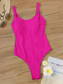 Swimsuit   Buckle   Piece   Strap   Neon   Pink   One
