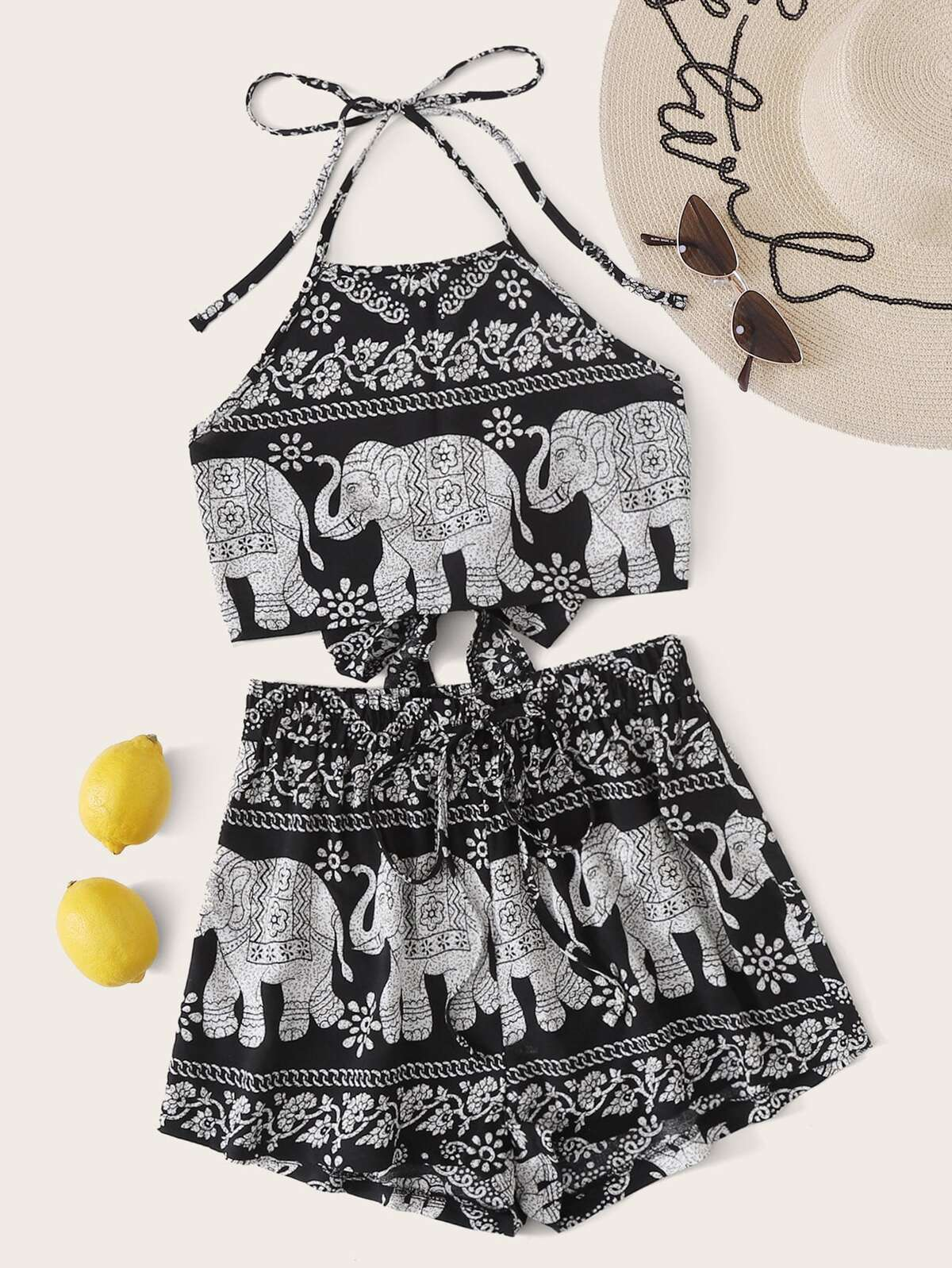Elephant & Tribal Print Tie Back Halter Top With Shorts