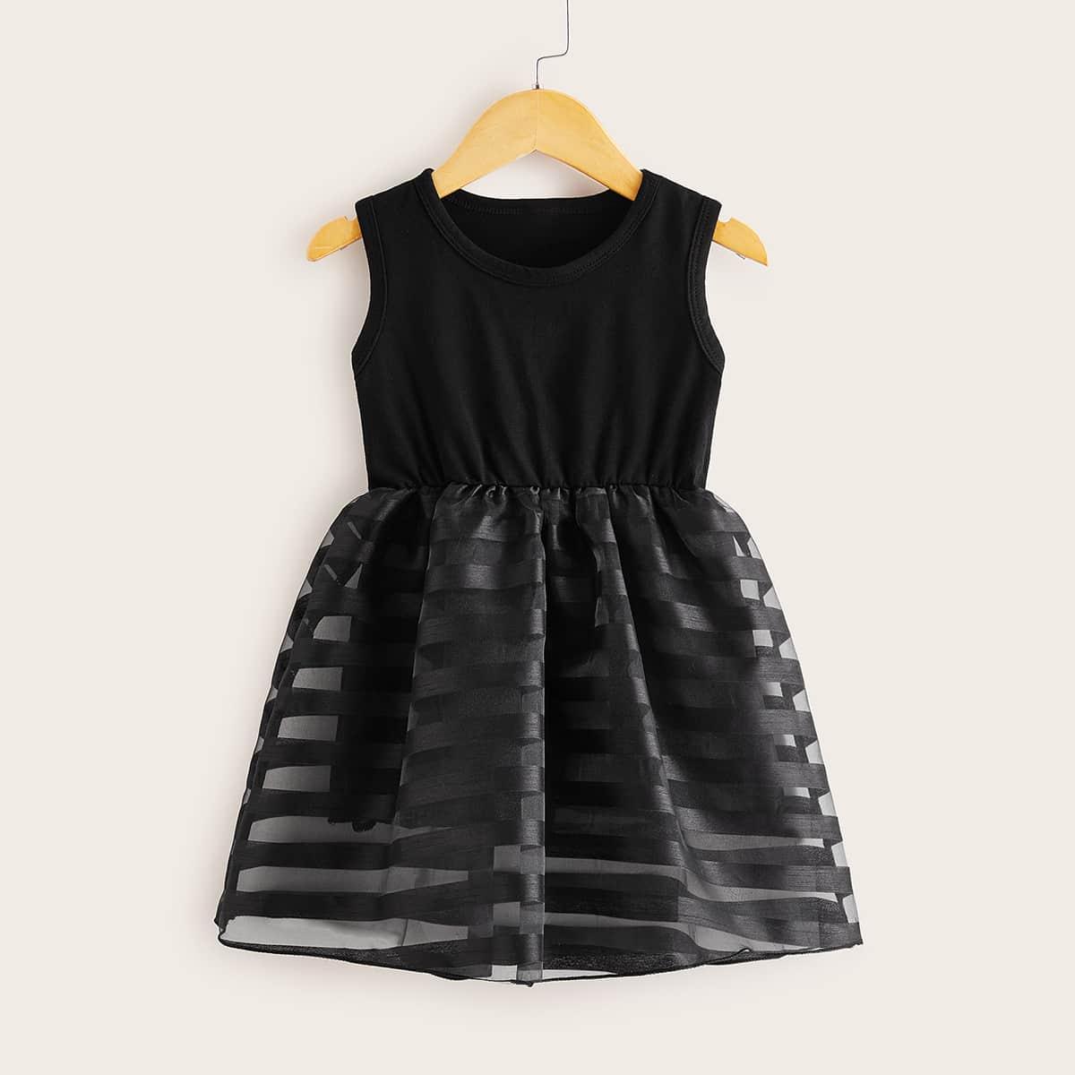 SHEIN / Toddler Girls Mesh Panel A-line Dress