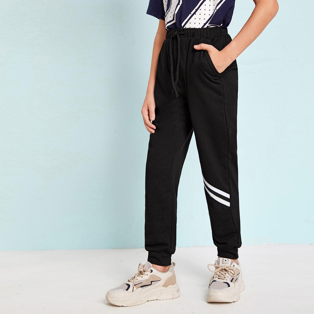 Спортивные брюки на кулиске с полосками для мальчиков от SHEIN