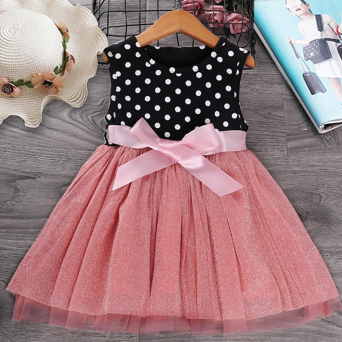 Платье в горошек с поясом для девочек