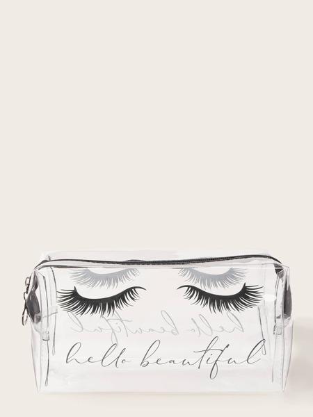 Eyelashes Pattern Clear Makeup Bag