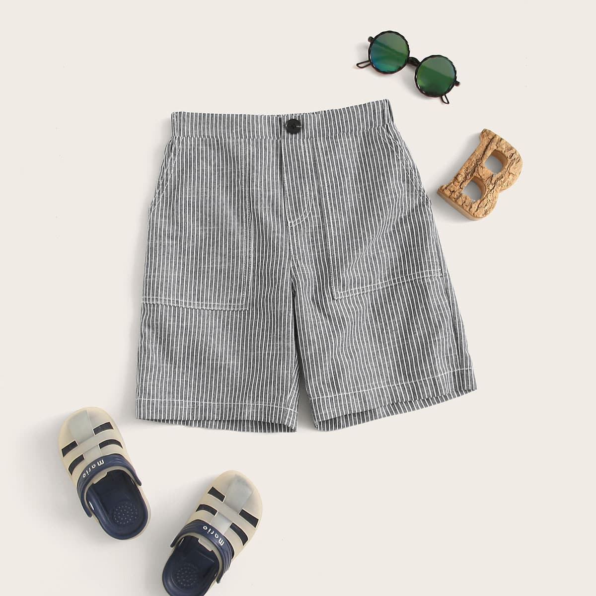 Шорты в полоску с карманом для мальчиков от SHEIN