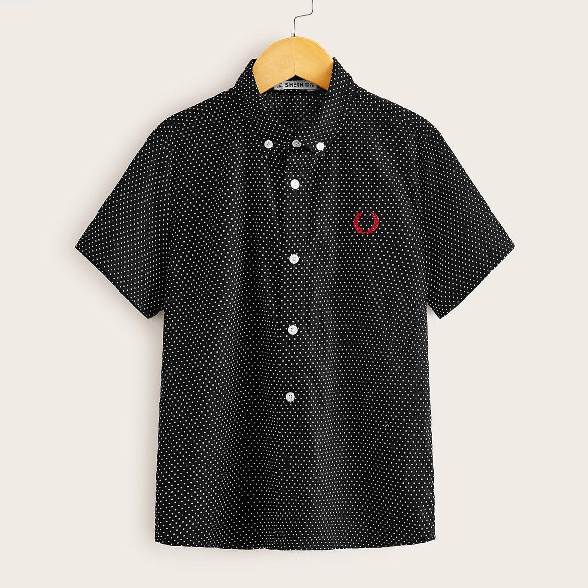 Рубашка в горошек с вышивкой для мальчиков от SHEIN
