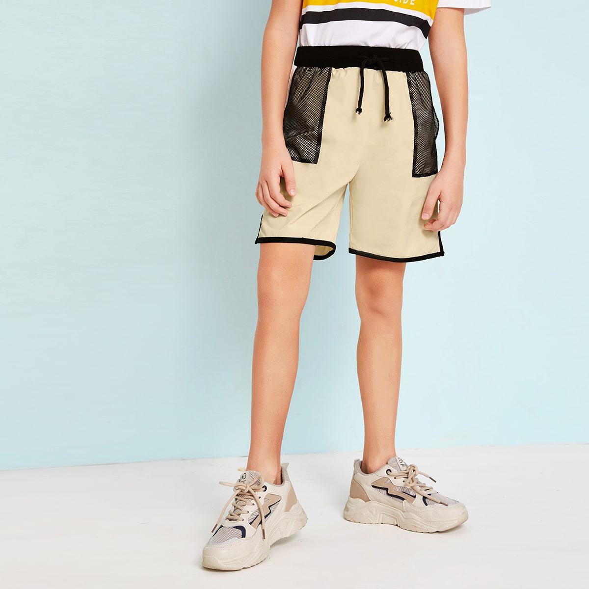Шорты с сетчатым карманом для мальчиков от SHEIN