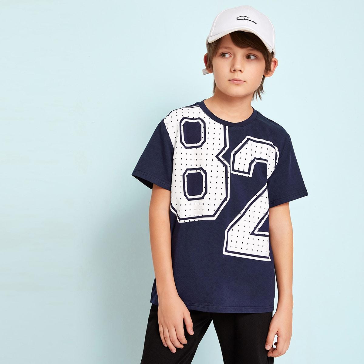 SHEIN / Jungen T-Shirt mit Nummer Muster