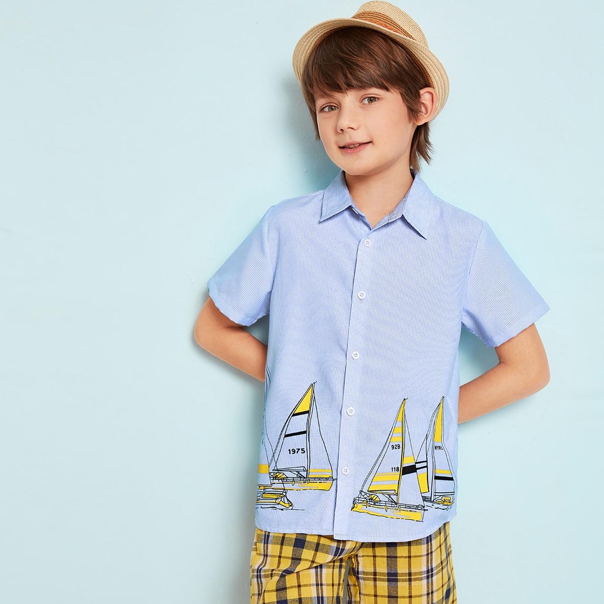 Рубашка с графическим принтом для мальчиков от SHEIN