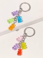 1pc Random Color Resin Bear Charm Keychain