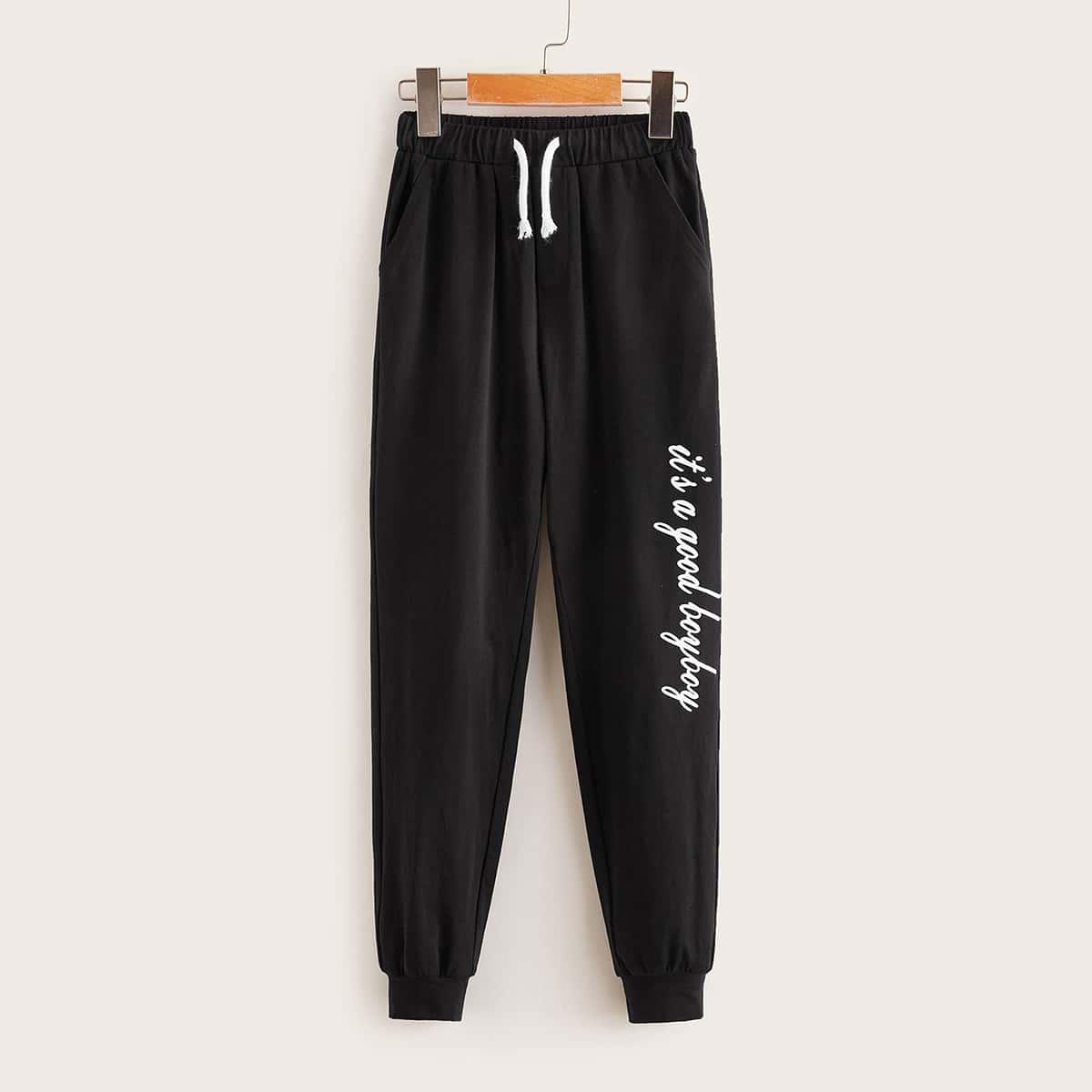 Спортивные брюки на кулиске с текстовым принтом для мальчиков от SHEIN