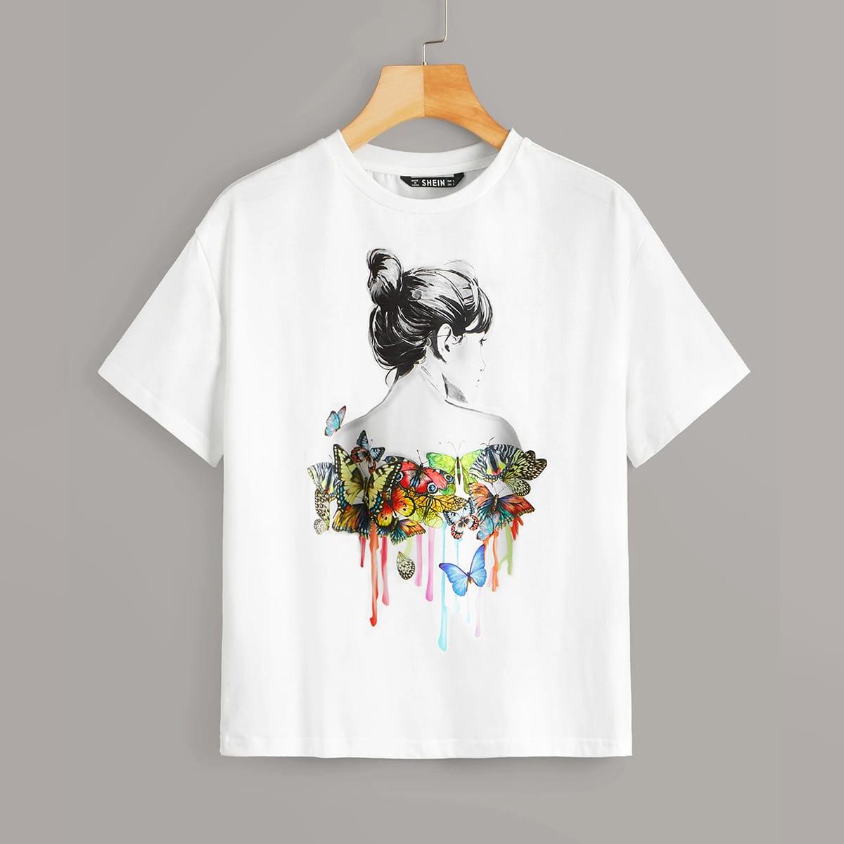Wit Casual Dieren T-shirt