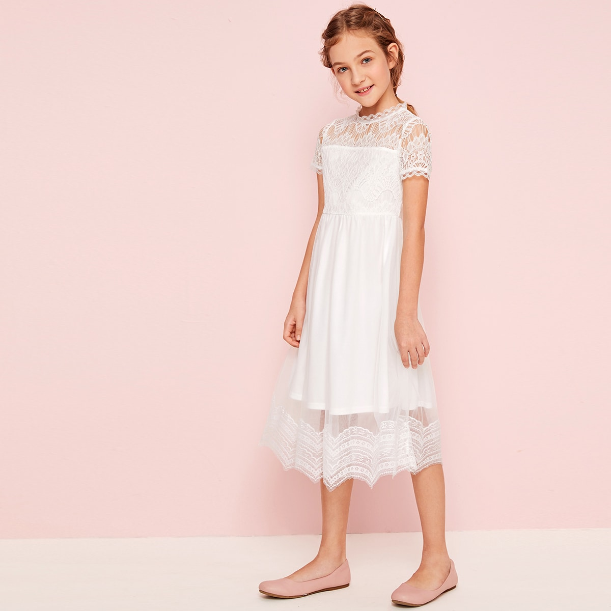 SHEIN / Girls Mock Neck Lace Bodice Mesh Flare Dress