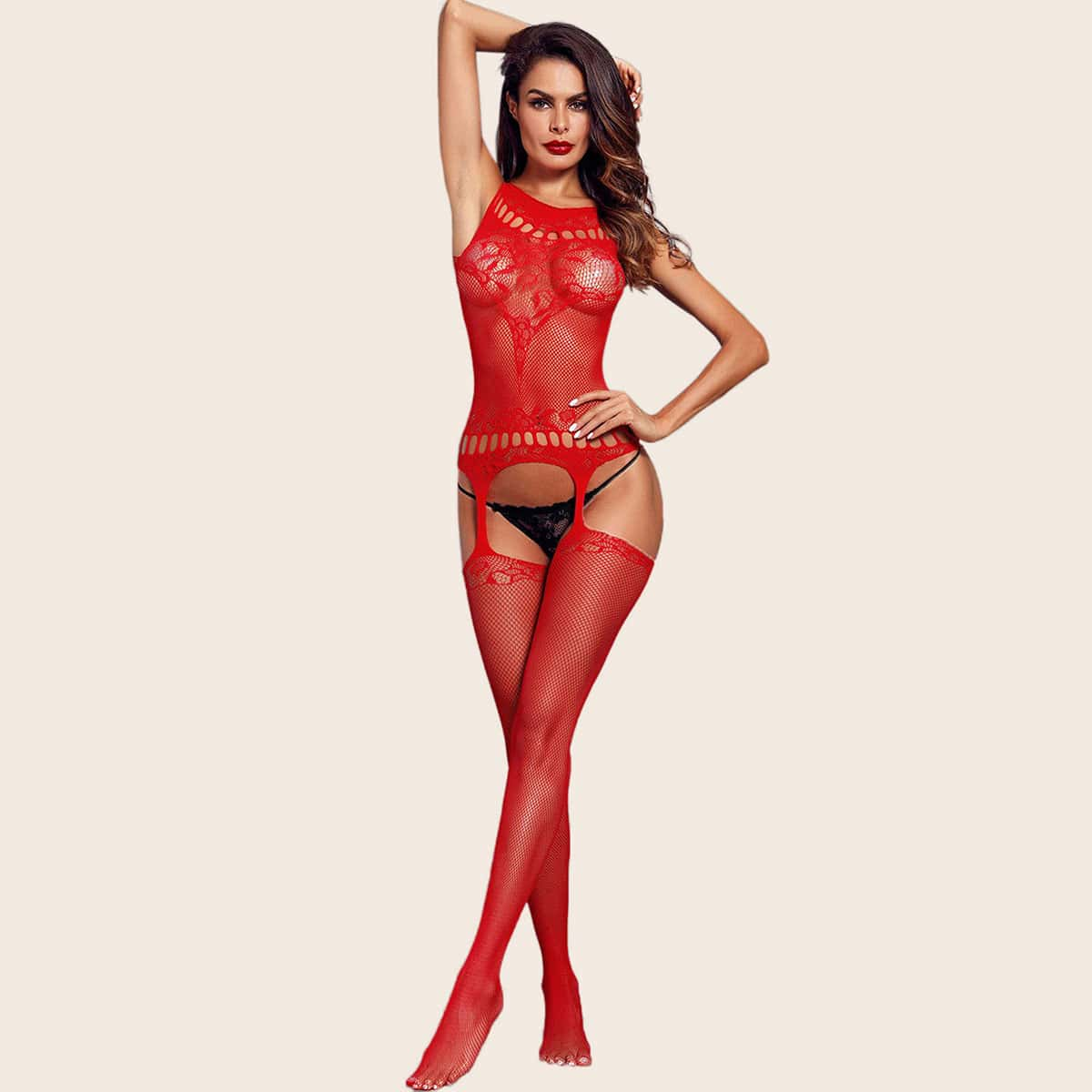SHEIN / Cut Out Net Crotchless Bodystocking