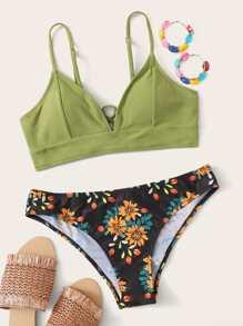 Floral Tie Back Bikini Swimsuit