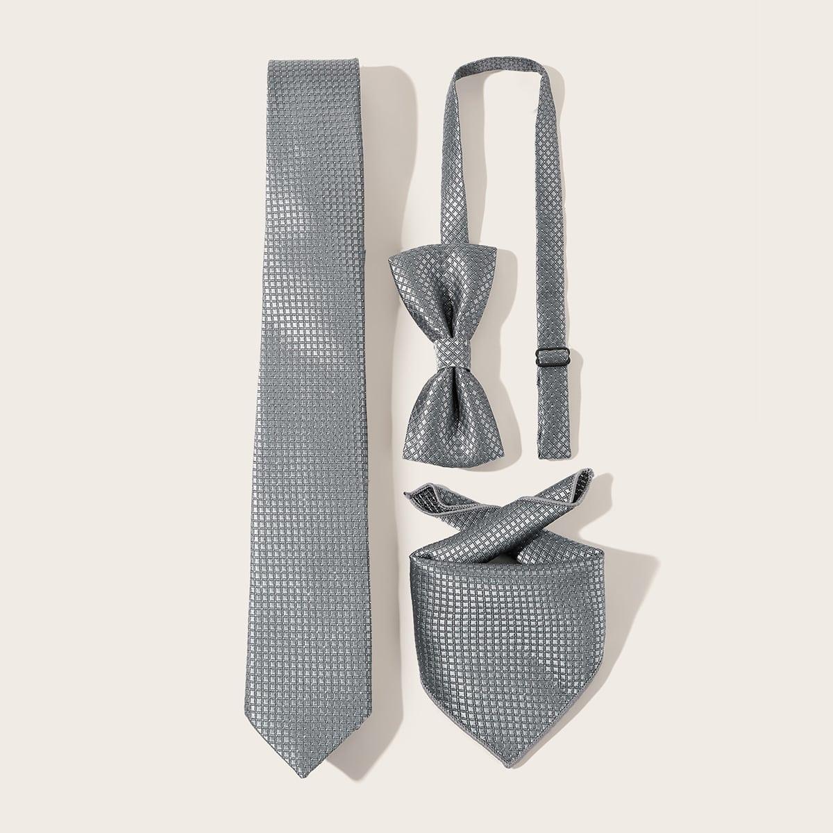 3-delige mannen geruite patroon stropdas set