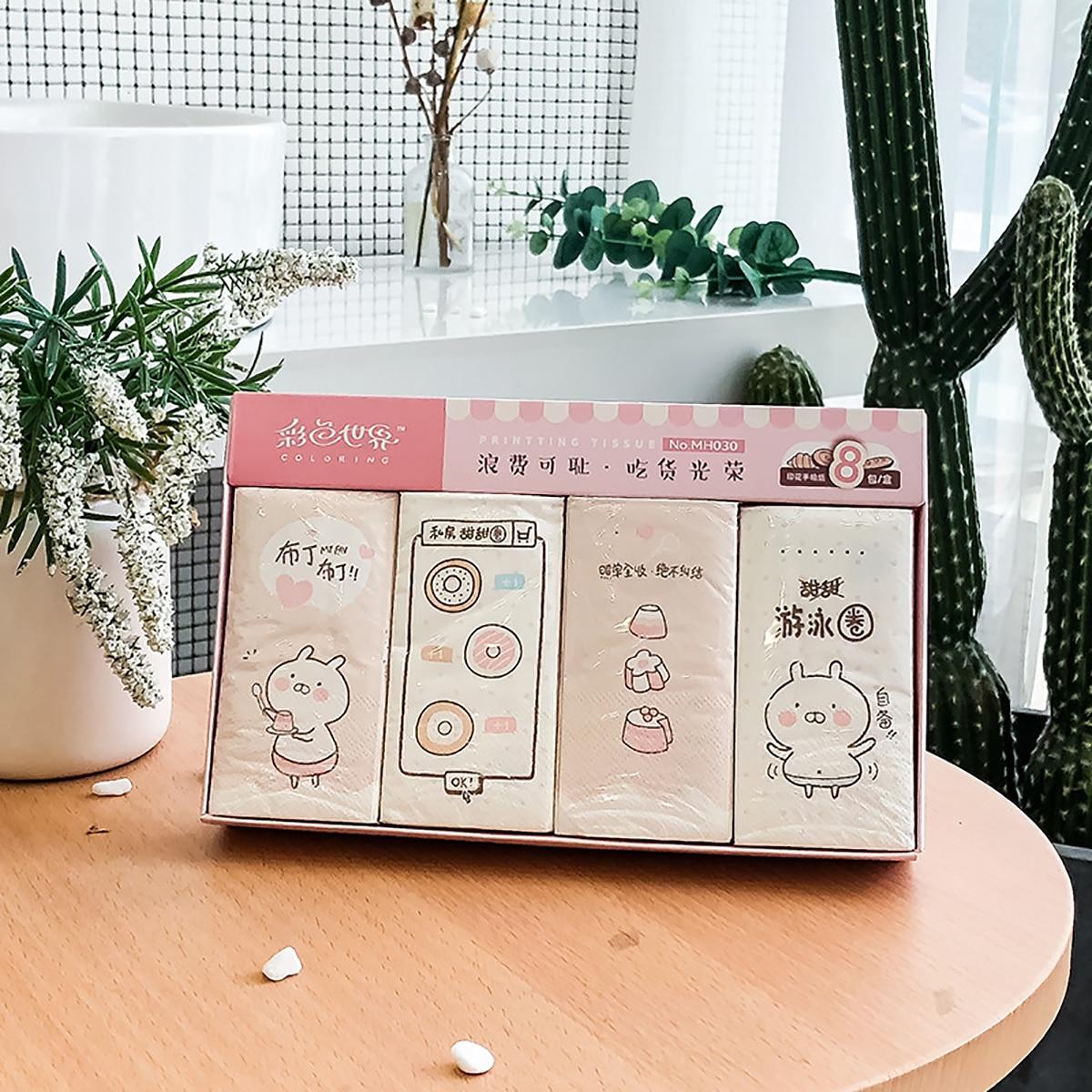 8-pack cartoon print hoes zakdoek papier
