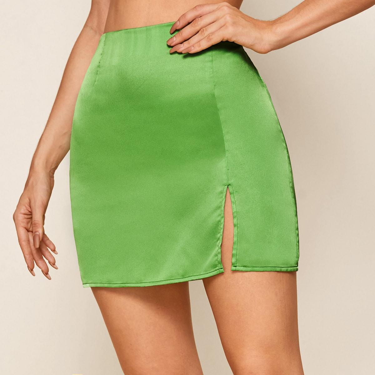SHEIN / Zipper Side Split Hem Satin Skirt