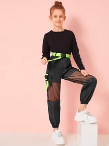 Buckle   Neon   Girl   Mesh   Pant