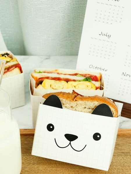 10pcs Cartoon Bear Design Sandwich Paper Bag