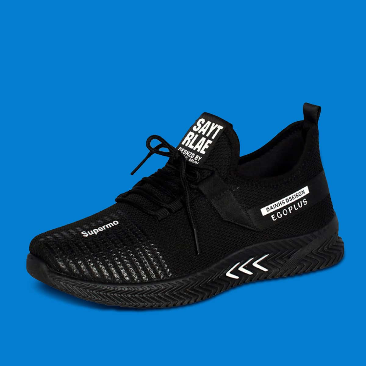 Мужские кроссовки на шнурках с текстовым принтом фото