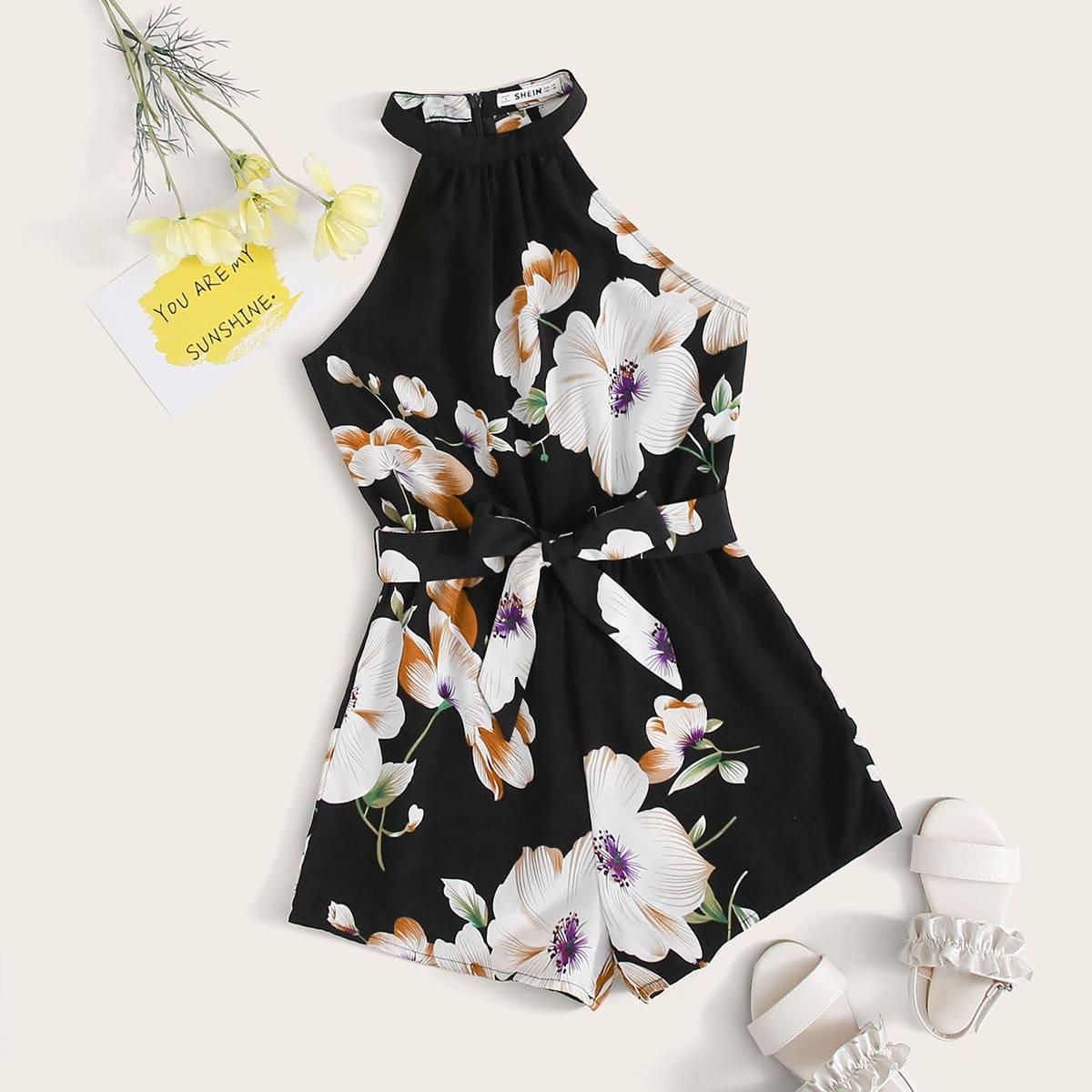 Комбинезон с цветочным принтом и поясом для девочек от SHEIN
