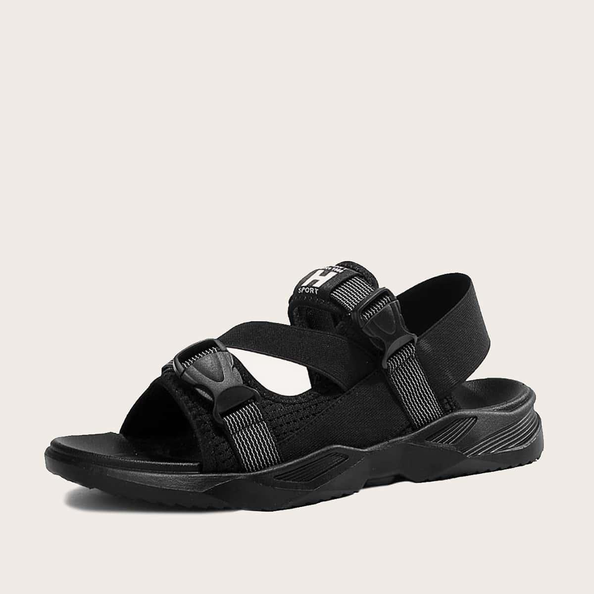 Mannen gesp Decor brief grafische sandalen