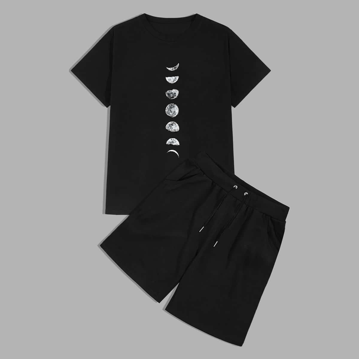 Мужские шорты и футболка с принтом луны от SHEIN
