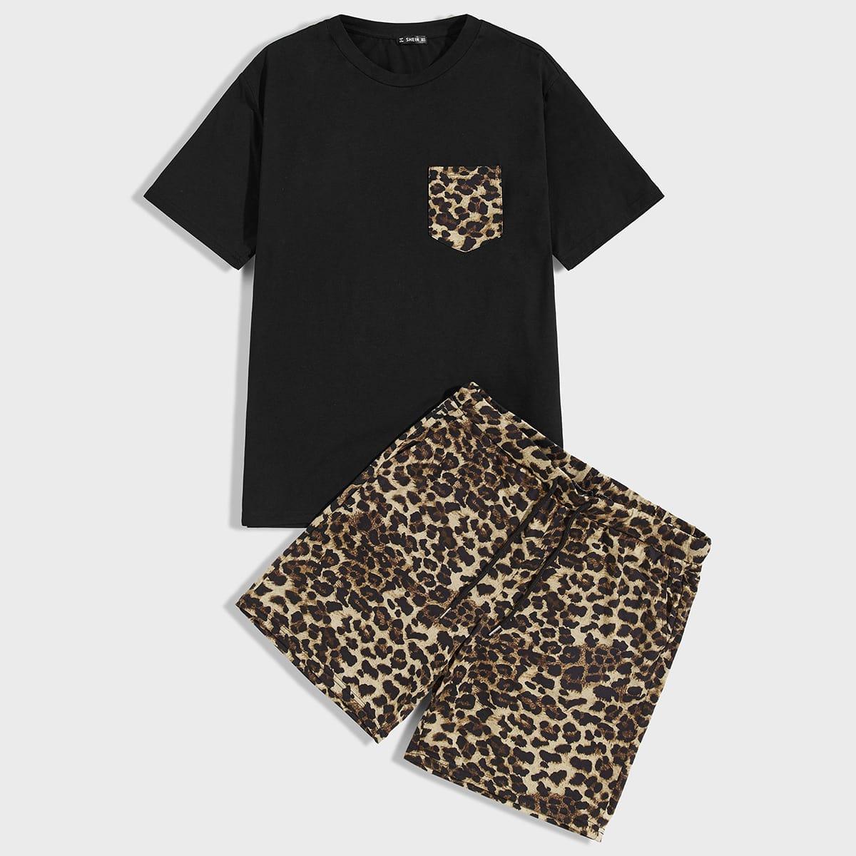 Мужские шорты и футболка с леопардовым принтом от SHEIN