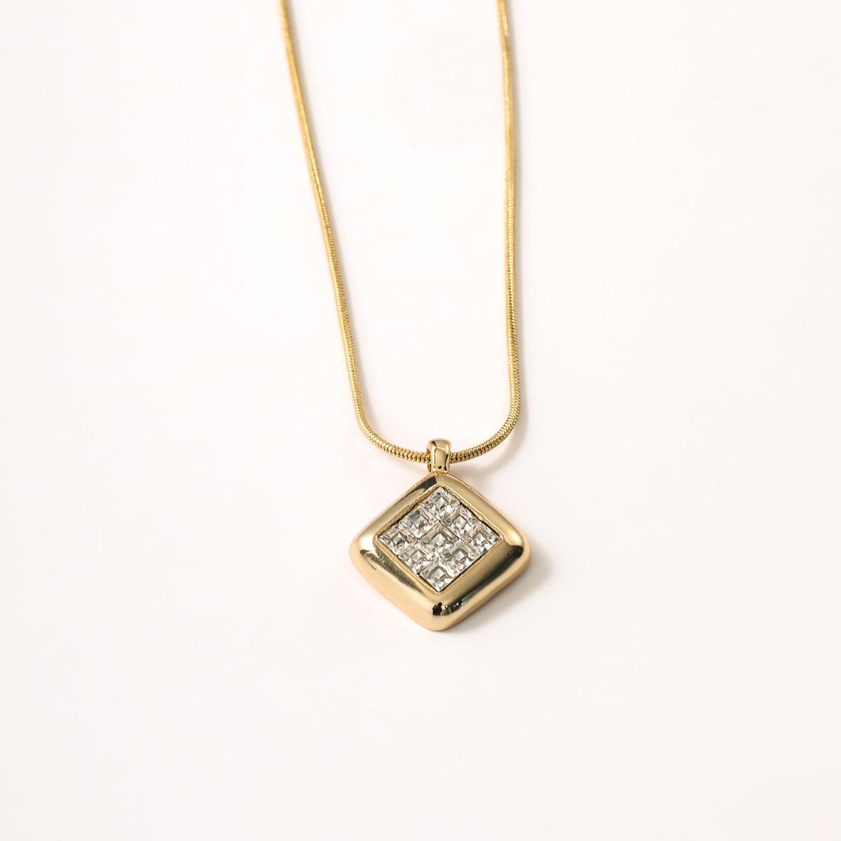SHEIN / 1pc Strass gravierte geometrische Charm Halskette