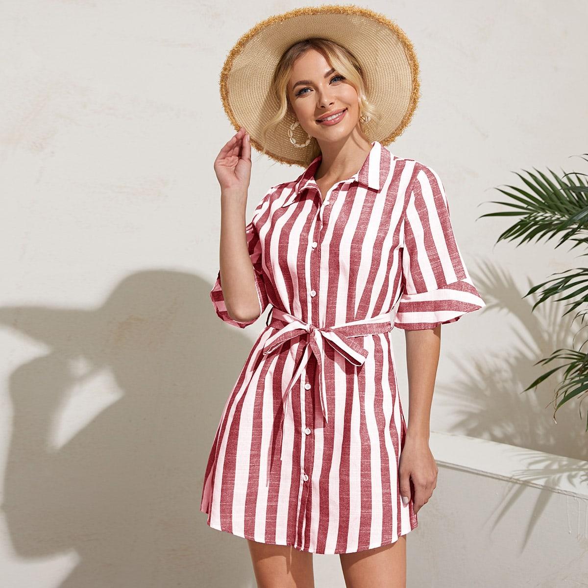 Платье-рубашка в полоску с поясом фото