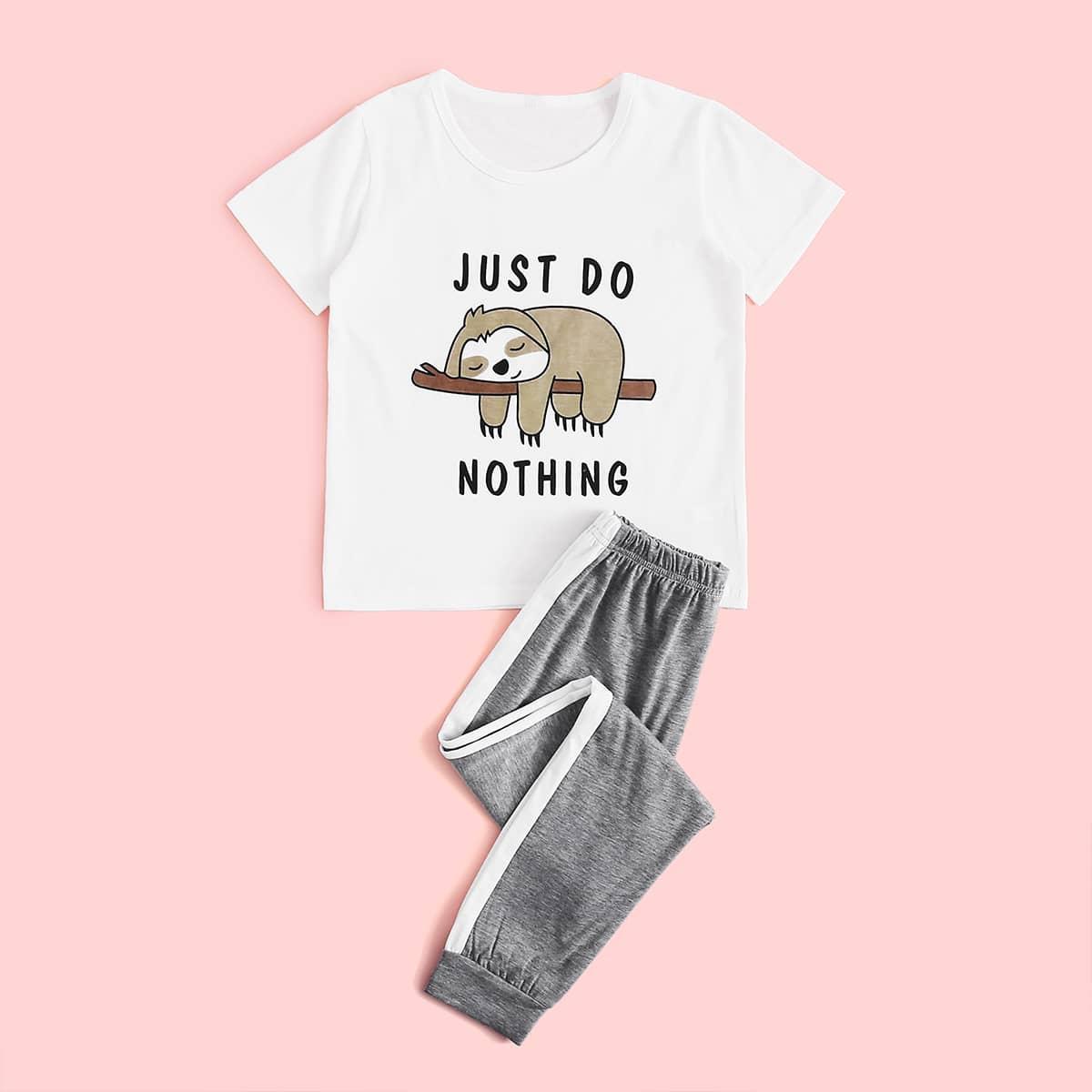 Пижама с мультяшным и текстовым принтом для девочек от SHEIN