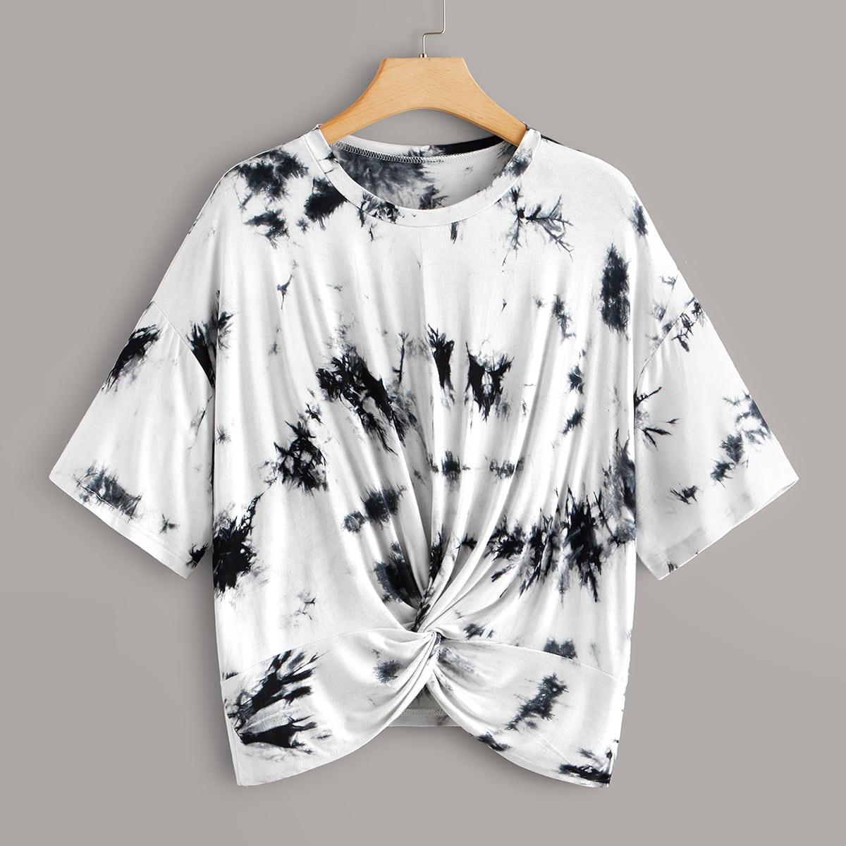 Разноцветная футболка размера плюс с драпировкой фото