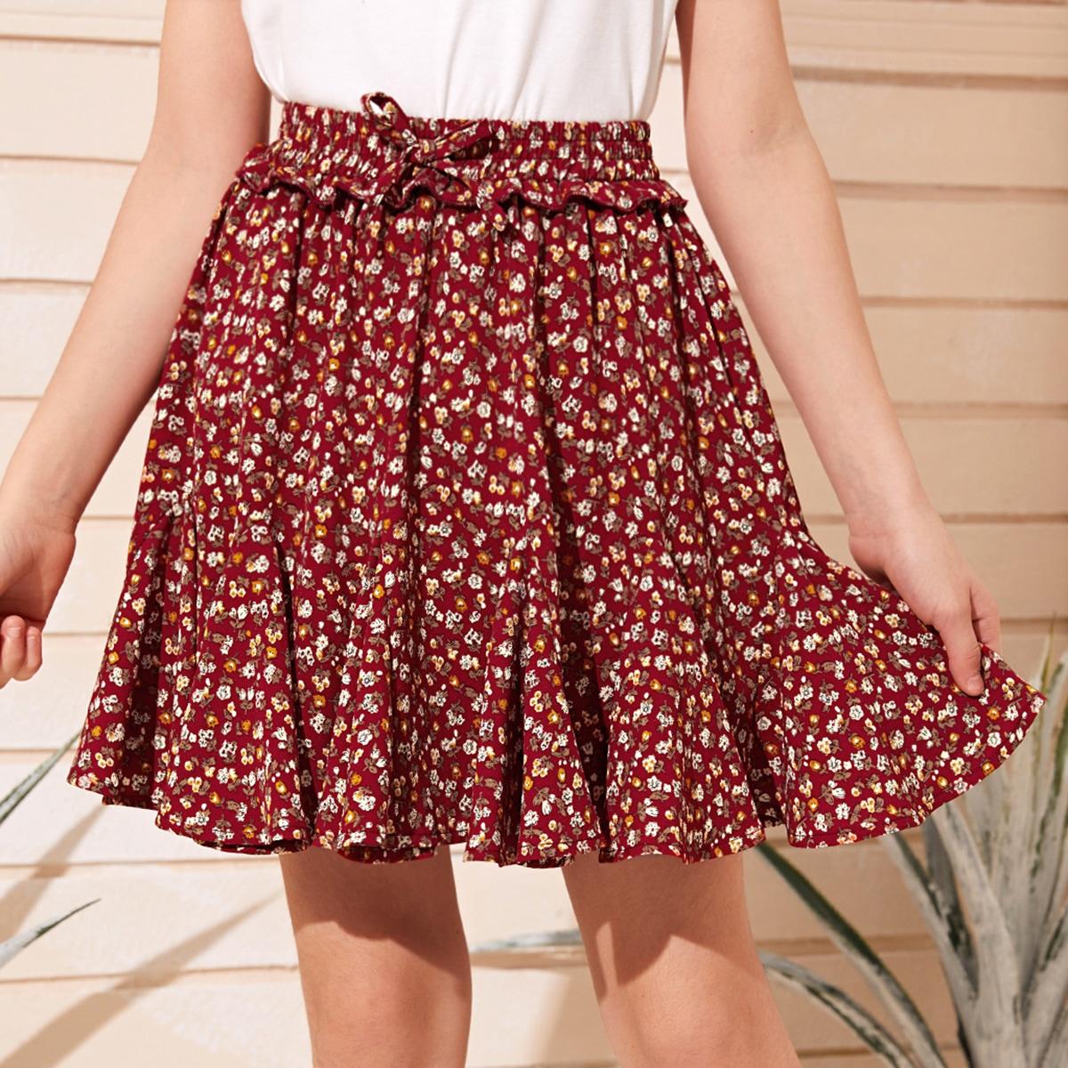 Цветочная юбка с оборками для девочек от SHEIN