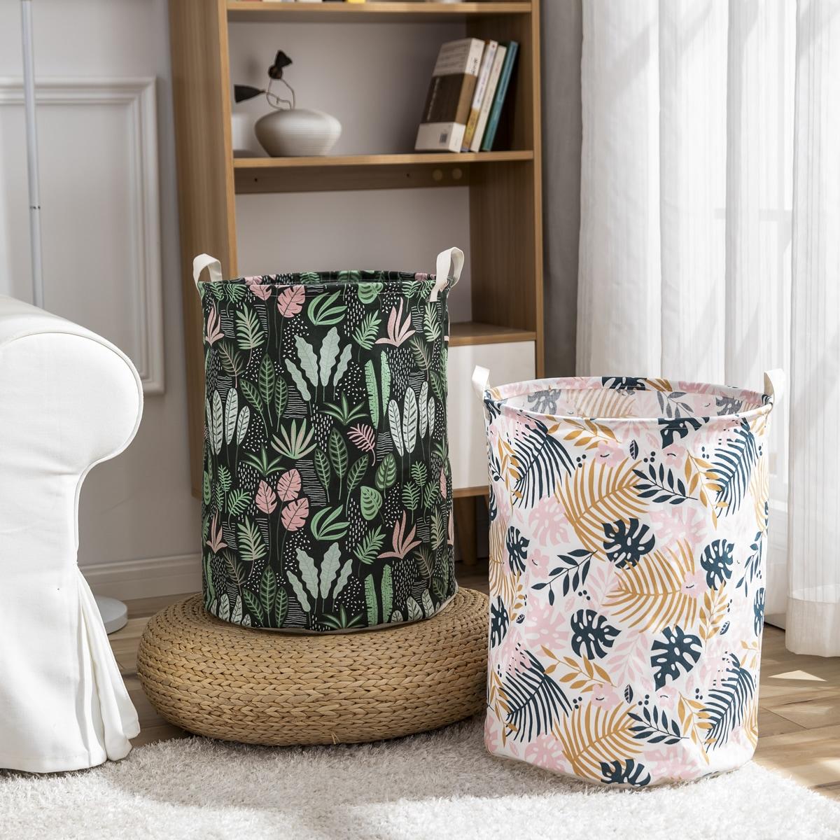 1pc Leaf Print Storage Basket