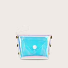 Girls Snap Button Holographic Purse (skbag18200323740) photo